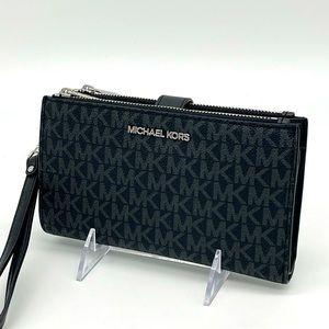 Michael Kors Lg Double Zip Wallet Wristlet Black